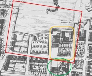 Sobre el Plano de Texeira de 1656, señalado en naranja el primitivo Palacio, en color verde la Iglesia-Convento de las Maravillas y en rojo, los límites aproximados que llegó a tener Monteleón